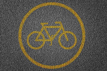 3D Illustration of a biking path area restriction for bicycle riders with yellow lines pattern and background, textured traffic rules concept