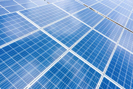 close up top view of Solar energy panels. Clean and renewable energy concept for a sustainable ecosystem. High quality photo