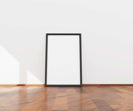 3D illustration of empty picture or poster frame on a white wall for mock up. . High quality 3d illustration