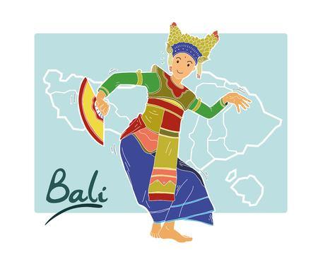 A bali dancer illustration on blue background.