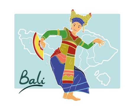 A bali dancer illustration on blue background.