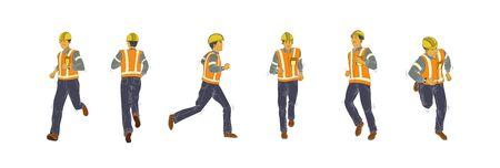 contruction worker gesture Illustration