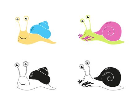 A cute snail part 1 on a colorful illustration. Illustration