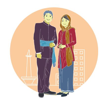 Couple wearing traditional clothes.