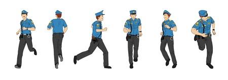 Police chasing criminals.