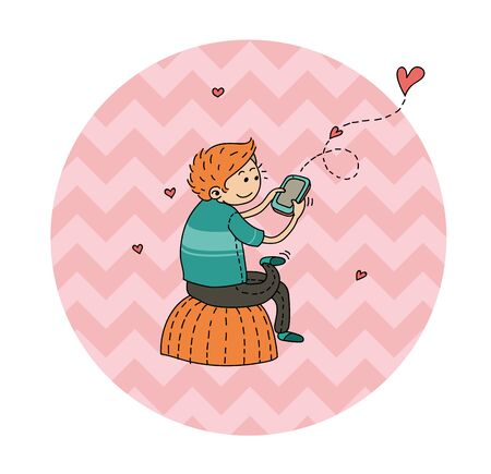 男は、愛についてのガール フレンドにメールを送信します。