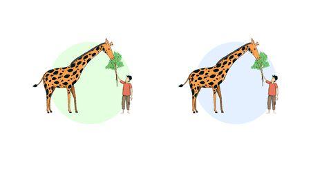 A child feeds a giraffe. 向量圖像