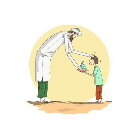 A man feeds a child