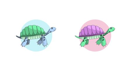 Swimming turtles illustration