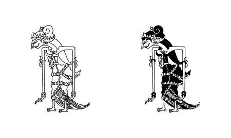wayang kulit sinta (outline and black) Illustration