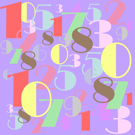 Numbers with pastel colors in a mixed order design illustration red yellow purple violet green brown Illustration