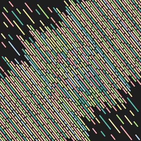 diagonal stripes: Striped geometric pattern black background vector vintage design with colorful dashed lines Illustration