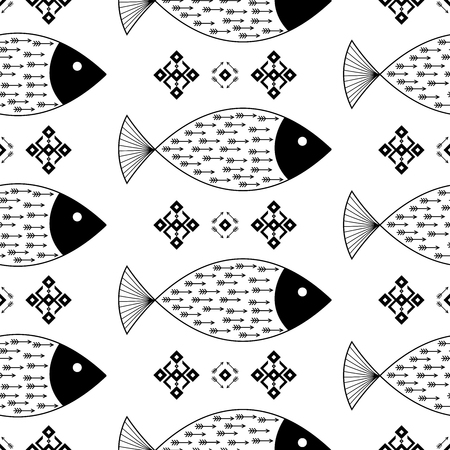 Seamless pattern fishes with Indian Native American arrows and geometric ethnic ornaments black and white vector background Illusztráció