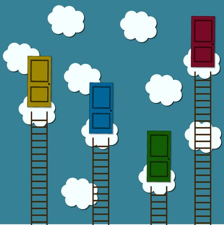 questioning: Motivational background image shows four old retro door on clouds with ladders for reaching them concept of success and targets