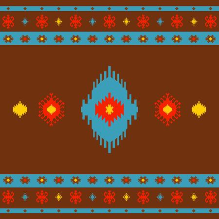 Native American Indian seamless pattern ethnic traditional geometric art with retro vintage design elements Aztec Inca Navajo tribal style vector illustration background red orange yellow aqua blue