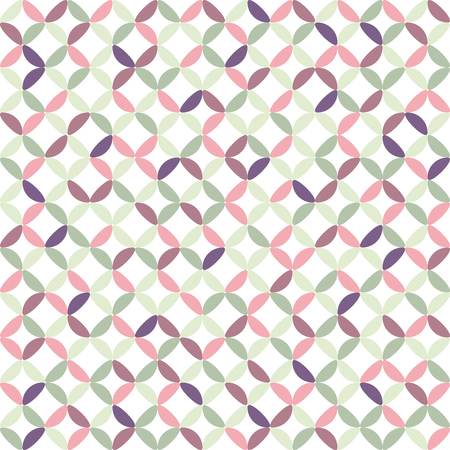 Seamless geometric pattern vector abstract background design of circles made with colorful ellipse shaped elements which creates white concave diamonds pink purple grey white