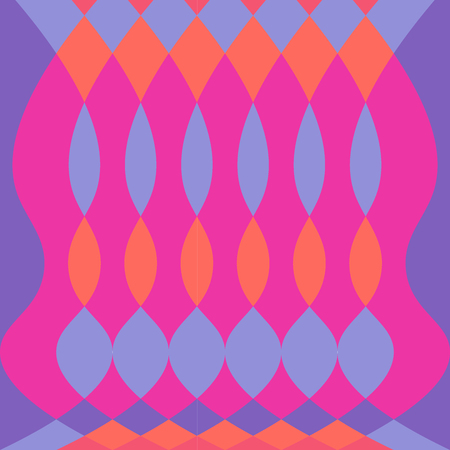 Abstract colorful psychedelic pattern vector background with oval and diamond shapes fuschia purple orange