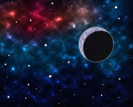 Space scenery with globe planet nebula dusts and clouds and glowing stars in universe background astrological celestial galaxy design