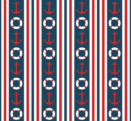 buoys: Seamless nautical vertical stripes pattern vector with anchors and life buoys marine background colorful vintage retro design