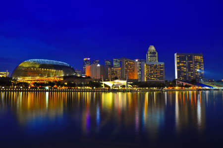 Twilight at Esplanade Singapore Stock Photo - 16957455