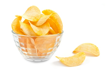 Potato chips bowl isolated on white