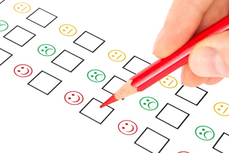 customer survey: customer satisfaction questionnaire showing marketing or business concept Stock Photo