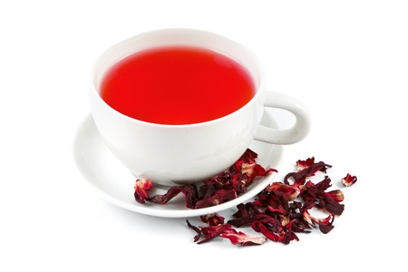 hibiscus flowers: Preparing hibiscus tea on white background Stock Photo