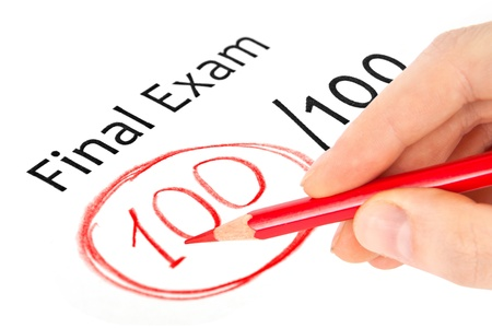 exam results: Final exam marked with 100  isolated on white