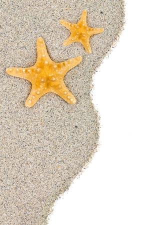 Strand mit Sand und Seesterne isoliert auf weiß Standard-Bild - 15376045