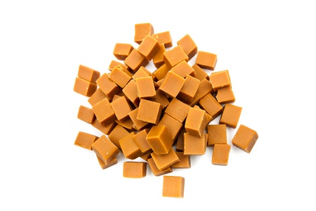 toffee: Groups of caramel candy, isolated on a white background Stock Photo