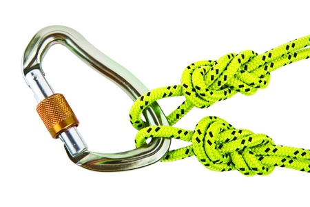 recreational climbing: Climbing knots and carabiner on white