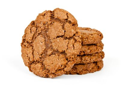 Close up delicious oatmeal cookies - isolated on white background photo