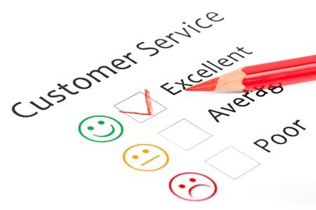 Tick ??colocado en la casilla de verificación en forma excelente servicio al cliente encuesta de satisfacción Foto de archivo - 15376012