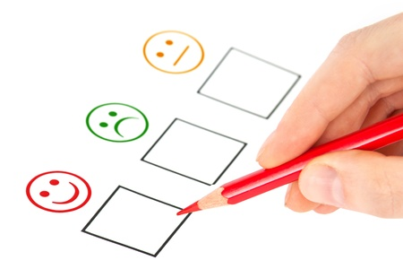 POSITIVE NEGATIVE: customer satisfaction questionnaire showing marketing or business concept Stock Photo