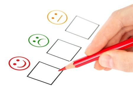 Kundenzufriedenheit Fragebogen zeigt Marketing-oder Business-Konzept Standard-Bild