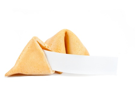 Fortune cookies with blank slip isolated on white background photo