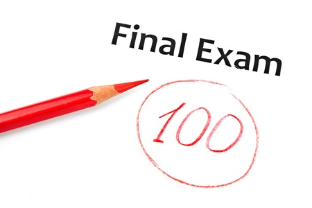 Final exam marked with 100% isolated on white Stock Photo