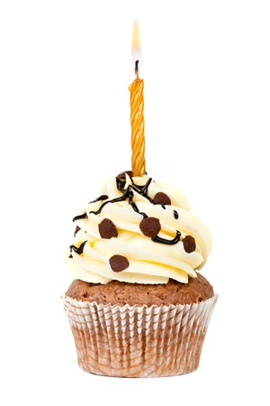lit candle: chocolate birthday cupcake