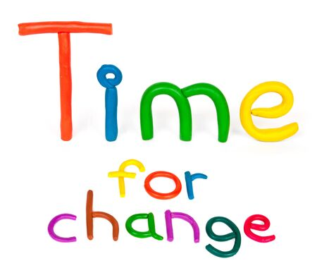 motivate: Time for change, colorful plasticine words on white