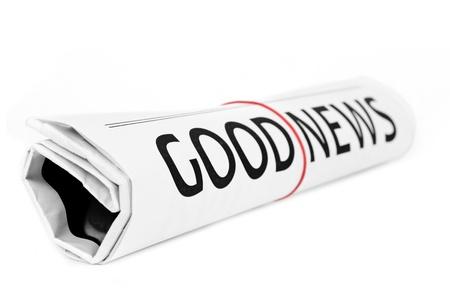 Good News, Zeitung Rolle mit weißem Hintergrund Standard-Bild - 15537103