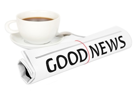 Gute Nachrichten Nachricht auf Arbeitsplatz Standard-Bild - 15537075