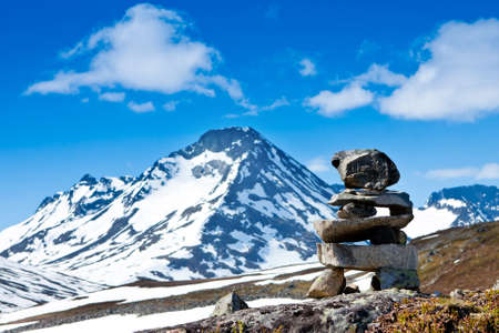 stone stacks high in the mountains photo
