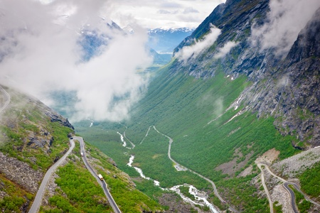 tortuous: Road in mountain range. Norway