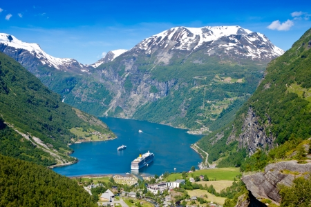 Geiranger fjord, Norway with cruise ship photo