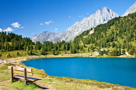 Beautiful view of high mountain lake. Alps
