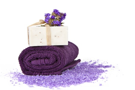 Soap Bars and violet towel with flower isolated  Bathroom composition