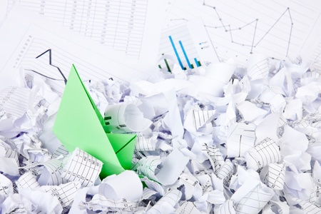 shred: Business concept of paper boat and documents