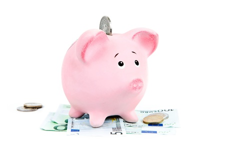 payday: Piggy bank with money on white