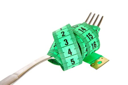 measuring tape on a fork - concept isolated on white