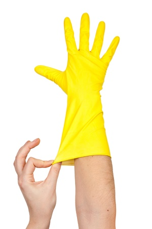 water sanitation: Latex Glove For Cleaning on hand